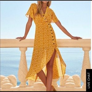 Lulus yellow maxi dress with thigh slit.